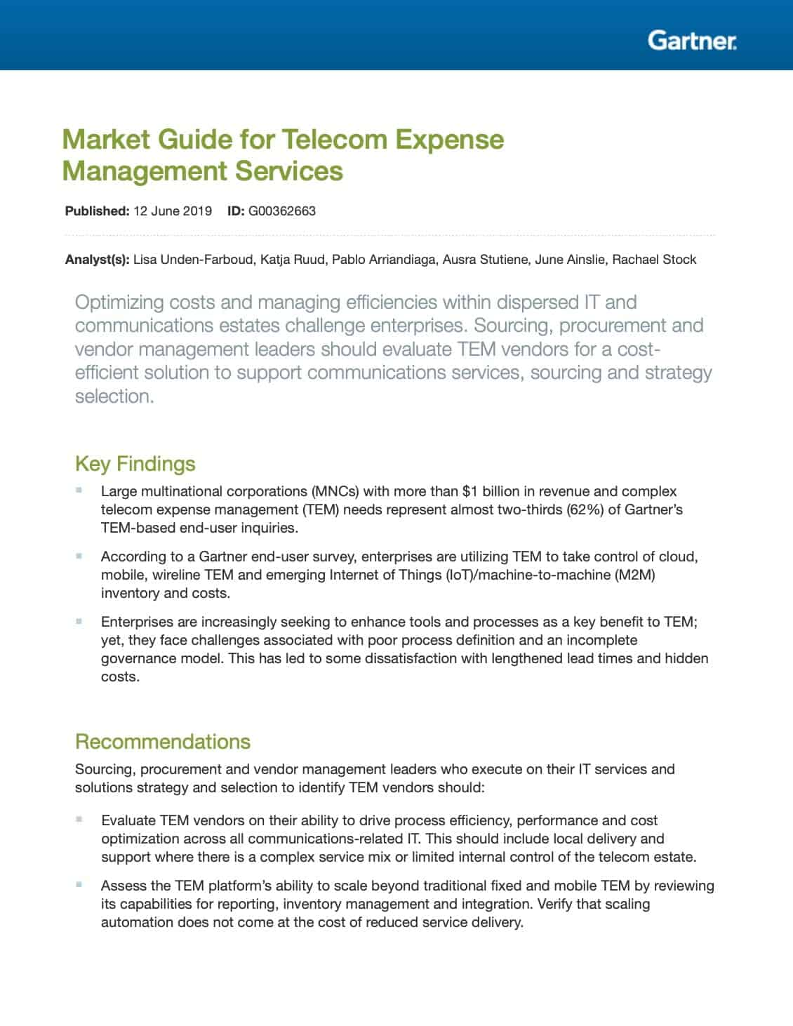 MobiChord Featured in Gartner's Market Guide for TEM Services 2019